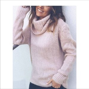 NWT BRUSSELS BLUSH PINK TURTLENECK SWEATER SIZE M